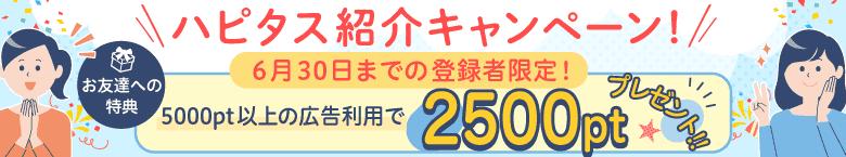 ハピタス新規登録の方は2500円分のポイントがもらえますよ!